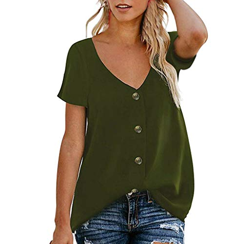 DAYPLAY Womens Tops Plus Size Summer 2019 Button Down V Neck Short Sleeve Tee T Shirt Loose Blouses for Ladies Clothes Sale Army Green