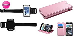 Combo pack MYBAT Vertical Pouch Universal Black Sport Armband (with Small/Large Fastening Sizes)(451)(NO Package) for SAMSUNG i515 (Galaxy Nexus) LG VS920 (Spectrum) MOTOROLA XT912M (Droid Razr Maxx) MOTOROLA XT912 (Droid Razr) MOTOROLA XT894 (Droid 4) MOTOROLA MB810 (Droid X) HTC One S HTC One X And MYBAT Pink MyJacket Wallet(with Tray)(565) (with Package) for LG D500 (Optimus F6) LG MS500 (Optim