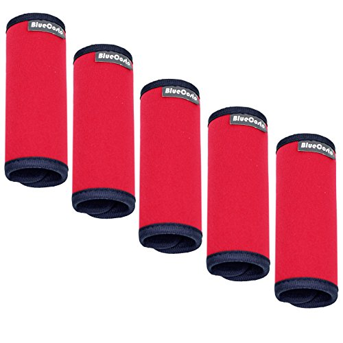 bluecosto-red-5-pack-soft-neoprene-luggage-handle-wraps-grips-suitcase-identifier-tags