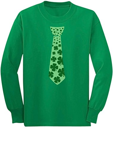 Tstars Irish Clover Tie ST. Patrick's Day Shamrock Cool Unisex Long Sleeve Kids T-Shirt Small Green