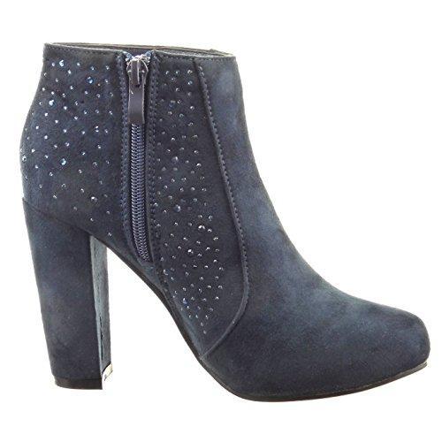 Tallone Blocco Caviglia Blu Sopily 10 Diamante Rhinestone Calzature Stivaletti Moda Cm Donne Stivale 7qOzY