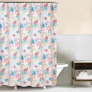 CF Home Caribbean Splash Colorful Ocean Sea Shells And Coral Shower Curtain