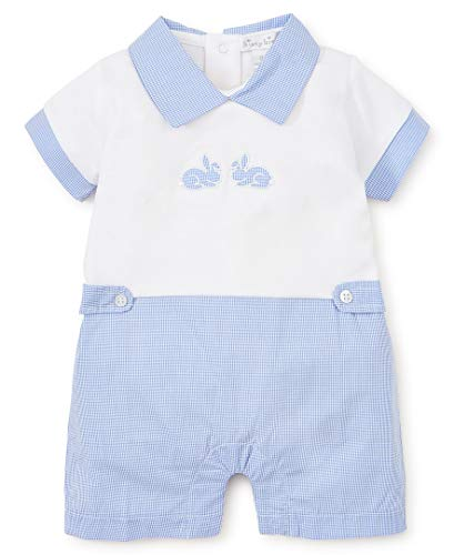 Blue Shortall - Kissy Kissy Baby-Boys Infant Pique Bunny Hop Blue and White Short Playsuit with Blue Collar-White with Blue-18-24 Months