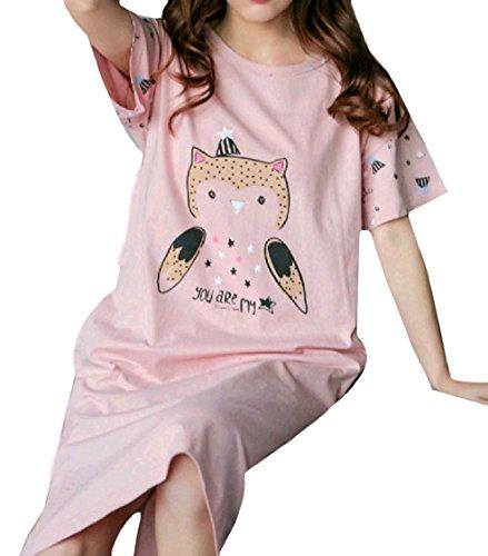 Coolred-femmes Mignon Dessin Animé Week-end Décontracté Coton Style Ample Manches Courtes Ras Du Cou Couchage Pattern13 Robe