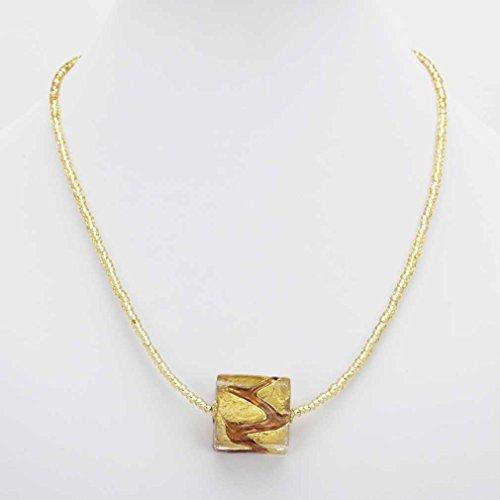 GlassOfVenice Murano Glass Royal Amethyst Square Necklace