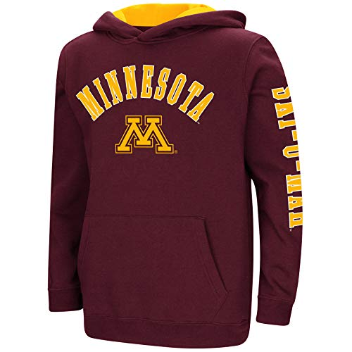 Colosseum NCAA Youth Boys-Crunch Time-Hoody Pullover-Minnesota Golden Gophers-Maroon-Youth XL