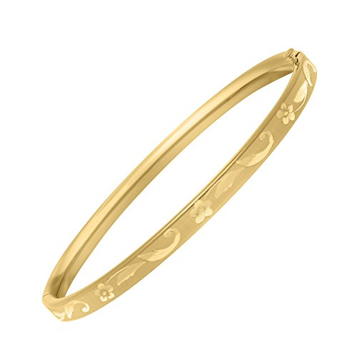 Toddler Girl Jewelry - 5 1/4 In 14K Yellow Gold Floral Inlay Bangle by Loveivy