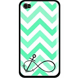 LJF phone case S9Q Chevron Fashion Wave Sailor Anchor Vintage Pattern Hard Back Case Cover For Apple iphone 4/4s Style A (green)