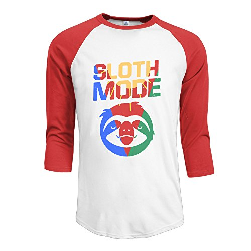 FPLUGVDC Sloth Mode Baseball Style Man 3/4 Sleeve Plain Raglan Shirts Tee