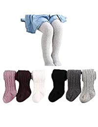6 Pairs Baby Toddler Girls Cable Knit Tights Cotton Warm Leggings Stocking Pants