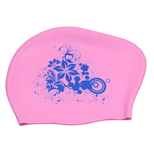 (YunZyun Swimming Cap Waterproof Silicone Swim Pool Hat Premium Earmuffs Silicone No-Slip Swimming Hat for Girls and Women (Pink))