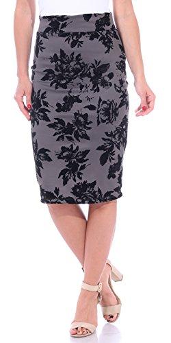 Popana Women's Stretch Pencil Skirt Knee Length High Waist for Work Made in USA Large Slate