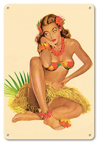 - Pacifica Island Art 8in x 12in Vintage Tin Sign - Hawaiian Pin-Up Girl - June 1949 Calendar by Al Moore