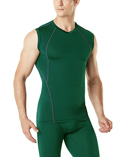 Tesla TM-MUV06-GRN_Medium Men's V Neck Sleeveless Cool Dry Compression Muscle Tank Baselayer MUV06 by Tesla