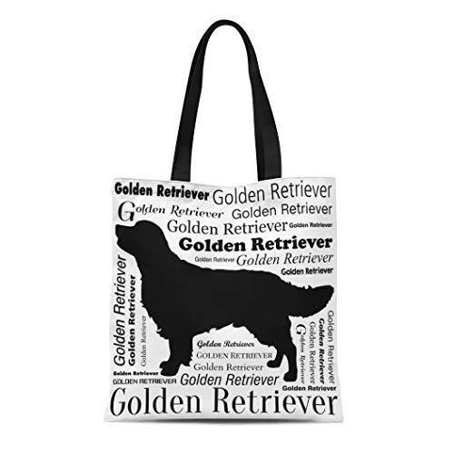 Golden Silhouette Retriever - Semtomn Cotton Canvas Tote Bag Brown Adorable Golden Retriever Silhouette Yellow Animal Attractive Beautiful Reusable Shoulder Grocery Shopping Bags Handbag Printed