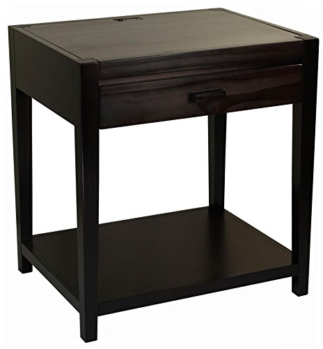 Casual Home 649-23 Notre Dame Nightstand with USB Ports-Espresso by Casual Home