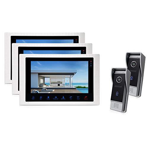 JeaTone 10'' Recording Intercom System Video Door Phone LCD 3 Monitor 1200 TVL Night Vision with 2 Camera Video Intercom Doorbel 3V2