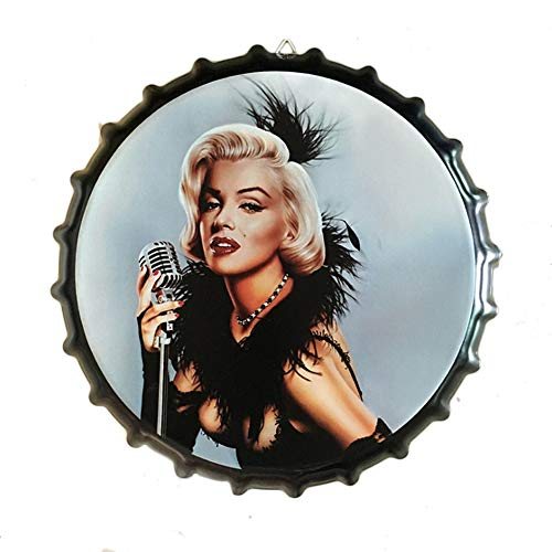 Ayiguri Beer Bottle Cap Decoration Creative Metal Tin Signs Vintage Wall Decor Art Plaque Souvenir Home Bar Cafe Bar Size Dia 13.7 Inches (Marilyn Monroe)