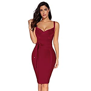 meilun Womens Rayon Belt Detail Bandage Bodycon Party Dress