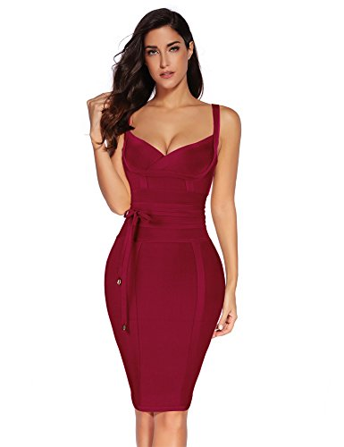 - Meilun Womens Rayon Belt Detail Bandage Bodycon Party Dress (L, Wine)