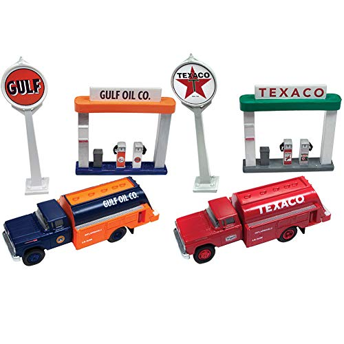 Johnson Smith Co. 1960 Ford Tank Truck, Sign, and Gas Pump Island Sets - Gulf and Texaco Oil from Johnson Smith Co.