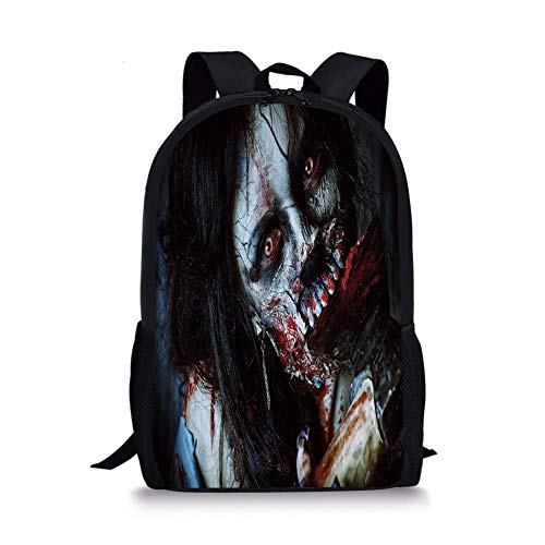 (School Bags Zombie Decor,Scary Dead Woman with Bloody Axe Evil Fantasy Gothic Mystery Halloween Picture,Multicolor for Boys&Girls Mens Sport Daypack)