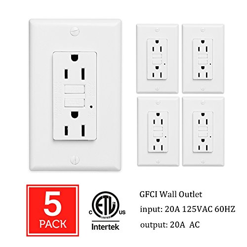 GFCI Wall Outlet 20Amp / 15Amp Safety Leakage Protection Socket Pack of 2 or 5 (5, 20A without safety door) by ThreeCat