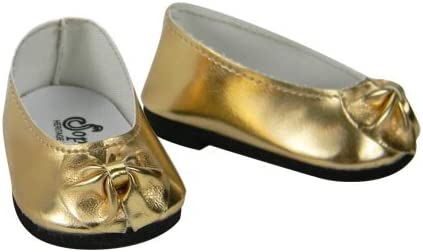 Gold Slip On Dress Shoes with Bow  Fits 18 inch American Girl Dolls