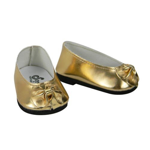 Gold Doll Shoes in Patent Leather with Bow, Dress Shoes Fits 18 Inch American Girl Dolls, Gold Patent Bow Slip On Shoes