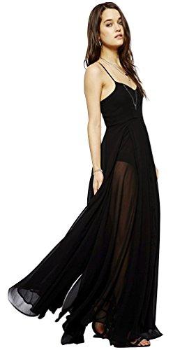Dress Drasawee See Women Sexy Straps Spaghetti Black Maxi Through Long wUwrq8HS