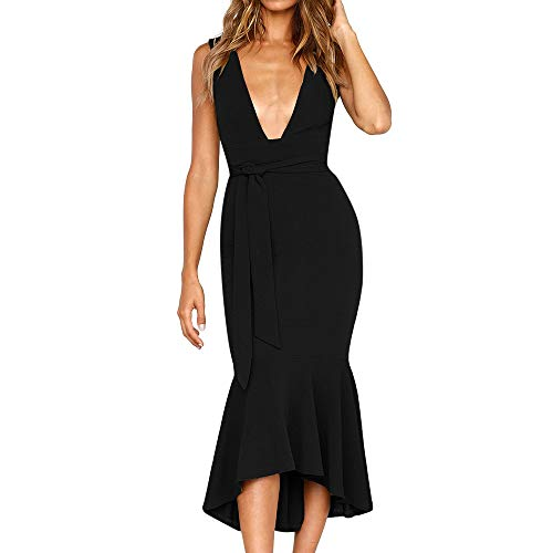 Other-sey Women Dress Fit and Flare Sleeveless Mid-Calf Deep V Neck Dress Ladies Summer Fishtail Party Dress Black