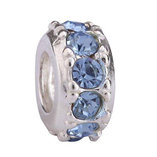 Blue Moon Sterling Silver Beads - Sterling Silver Charm December Birthstone Bead Blue Swarovski Crystal fits All Charm Bracelet Women Girls Mother's Gifts EC290
