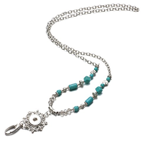 Soleebee Fashion 31.5 inches Office Lanyard Handmade Beaded Snap Button Jewelry ID Badge Holder Necklace with Swivel Oval Clasp for ID Badges Keys (Silver Chain Turquoise) (Christmas Lanyards Beaded)