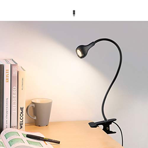Hsada_Light Clip-on Table Lamps,HSada Alu Alloy+PVC Eye-Caring LED Desk Lamp,Power Saving Office Lamp with USB Charging Port,Warm Yellow for Reading, Studying, Working (Black)