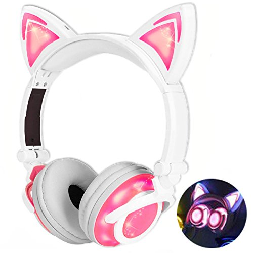 Adjustable Overhead Headphones (Qiwoo Kids Headphones with Cat Ear USB Rechargeable Adjustable LED Light Up Wired Over Ear Headphones 85dB Volume Limited Compatible for iPad Tablet for Kids Girls Boys Birthday Gift (2-Pink))