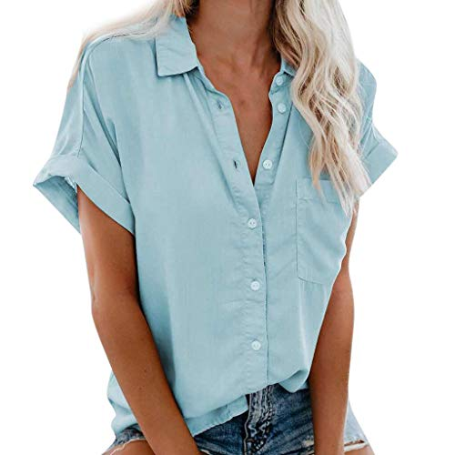 〓COOlCCI〓Women's Summer Half Sleeve Dip Hem Plain Pocket T-Shirt Blouse Crop Top Loose Front Button Shirts Light - Long Bib T-shirt Sleeve