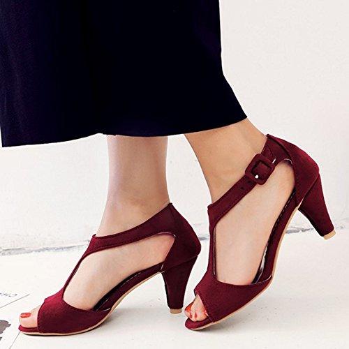 COOLCEPT Mujer Moda Peep Toe Correa En T Tacon Embudo Sandalias Vino Rojo