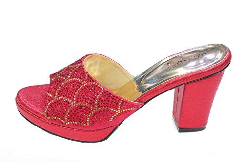 W & W Mujeres Ladies Diamante Slip On Zapatos de novia boda partido noche tacón bloque sandalias Size4–10(Rivo) granate