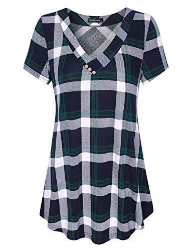 Vinmatto Women's Short Sleeve V Neck Flowy Tunic Top(L,Plaid Green)