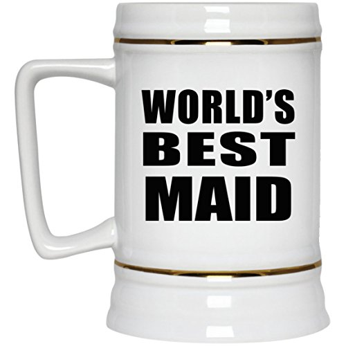 World's Best Maid - 22oz Beer Stein Ceramic Bar Mug Tankard - Gift for Friend Colleague Retirement Graduation Mother's Father's Day Birthday Anniversary -