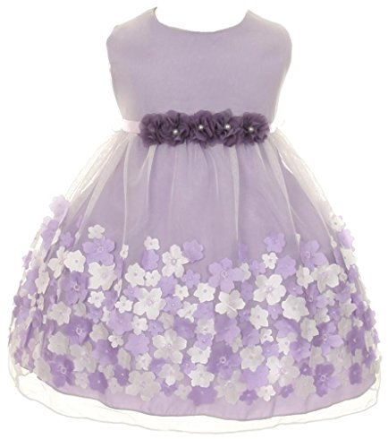 Strapless Cathedral Train - Little Baby Girls' Mesh Taffeta 3D Chiffon Wedding Easter Flowers Girls Dresses Lavender Size S