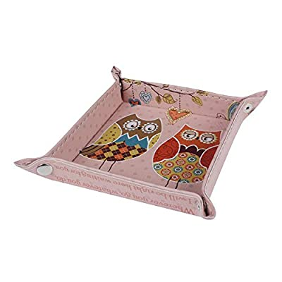 Autumn Water 1PC Fashion Pink Owl Faith Cute Design Kid Girl PU Leather Mens Catchall Change Key Wallet Coin Box Storage Tray Valet
