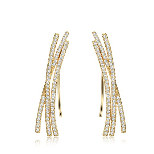 Female Robot Costume Uk (Mevecco Womens Girls Ear Crawler Climber CZ Crystal Ear Wrap Cuffs Earrings Sweep Stud Earring Pin Jewelry-07-Gold)
