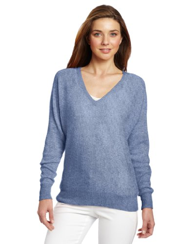 Minnie Rose Women's 100% Cashmere V-Neck Dolman Sleeve Pullover Sweater, Denim Blue, Large