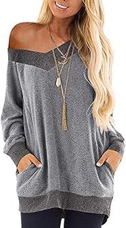 osazic Womens Casual Color Block Long Sleeve Round Neck Pocket T Shirts Blouses Sweatshirts Tunic Tops