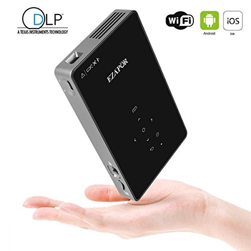 Ezapor DLP Mini Video Projector with 1G+8G Android System WIFI Wireless in Portable Size for Video Movie Game Business Home Theater