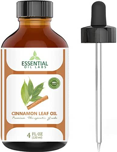 Cinnamon Leaf Oil - 100% Pure and Natural - 4 Oz. with Glass Dropper - Therapeutic Grade - Excellent for Aromatherapy, Skin and Hair Care, Massage and Chemical Free Bug Repellent by Essential Oil Labs