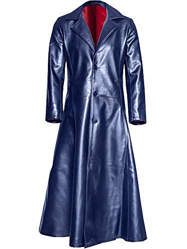 Ashuai Men's Leather Long Trench Coat The Matrix Neo Long Jacket Coat(XL,Blue)