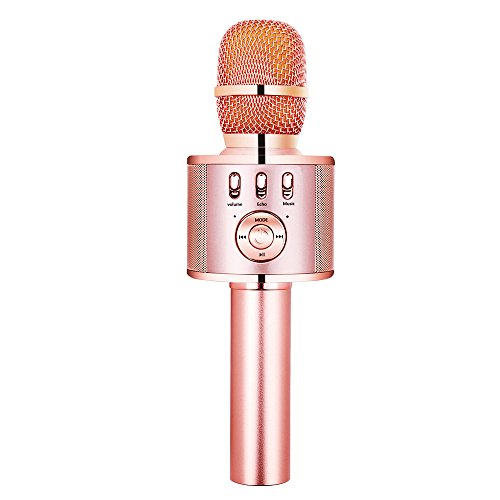 VERKB Wireless Karaoke Microphone H15, Built-in Magic Sound and FM Function, Portable Bluetooth karaoke Machine for Smartphone Home Party, Team Building (Rose Gold) by VERKB