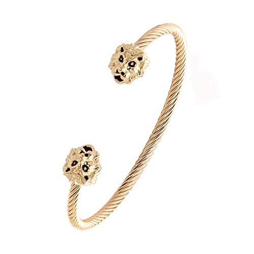 NOUMANDA New Design Women Jewelry Cuff Bangles Both End with Animal Lion Head Wire Twist Bangle Bracelet (Lion Jewelry)
